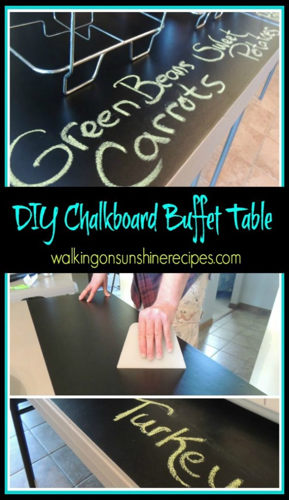 Make your own DIY Chalkboard Buffet Table for your next family gathering from Walking on Sunshine Recipes.