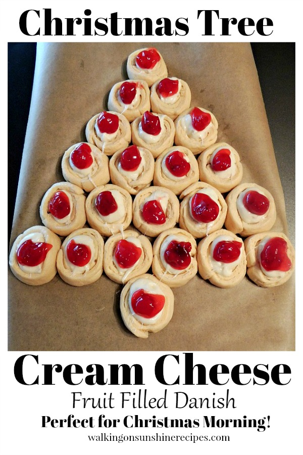 Christmas Tree Cream Cheese Fruit Filled Danish from Walking on Sunshine Recipes