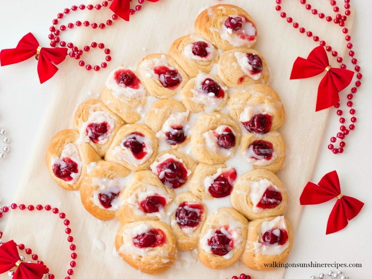 Christmas Tree Cream Cheese Danish is the perfect recipe to make for breakfast on Christmas morning.