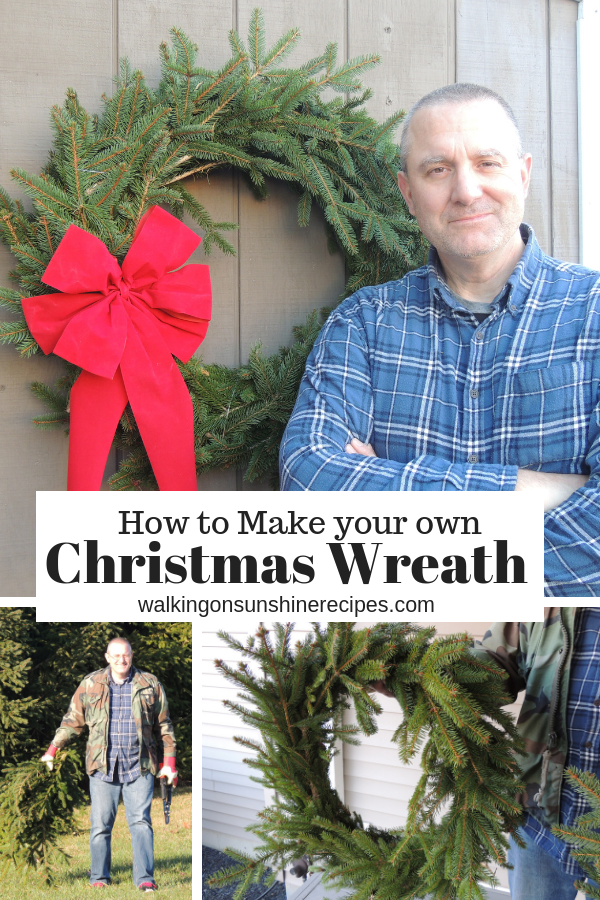 How to make your own Handmade Christmas Wreath this year with clippings from pine trees in your yard or from a neighbor's tree!