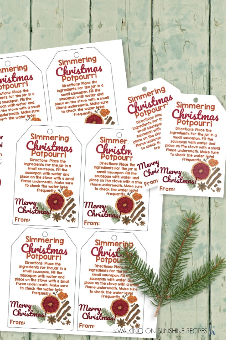 Free Printable Gift Tags for Simmering Christmas Potpourri from WOS