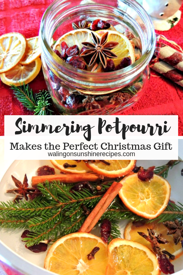 Simmering Potpourri makes a great homemade Christmas gift or hostess gift to give to family and friends.