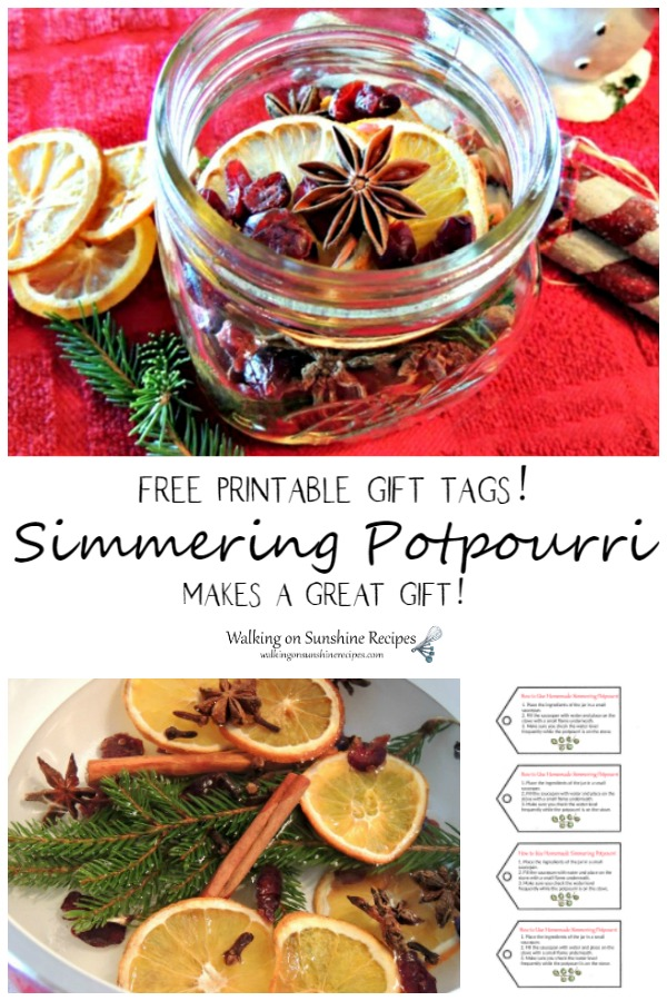Simmering Potpourri Gift Idea with Free Printable Tags