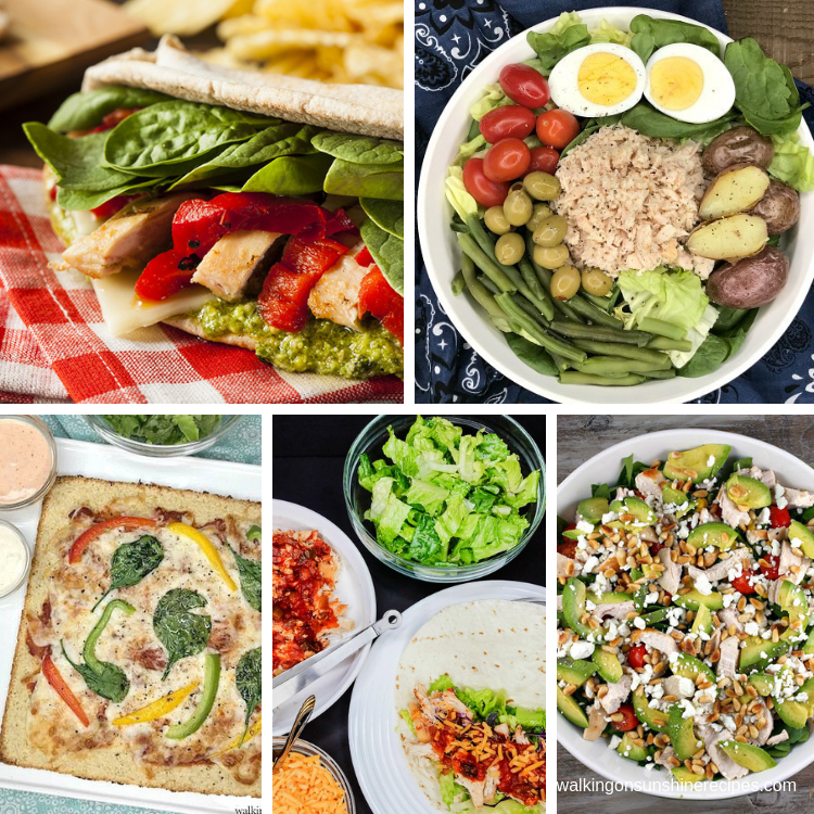 Weight Loss Recipes salad, pizza and chicken