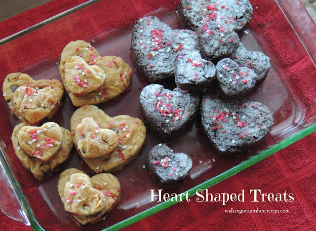 Heart Shaped Chocolate Chip Cookies and brownies from Walking on Sunshine.