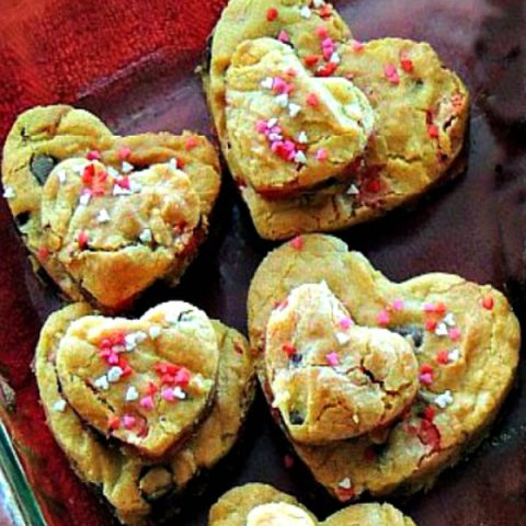 Heart Shaped Chocolate Chip Cookie Bars