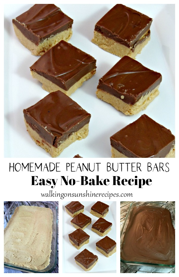 Homemade Peanut Butter Bars collage with first two layers.