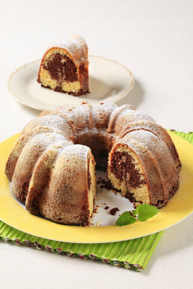 Marble Bundt Cake from a cake mix on yellow plate from WOS