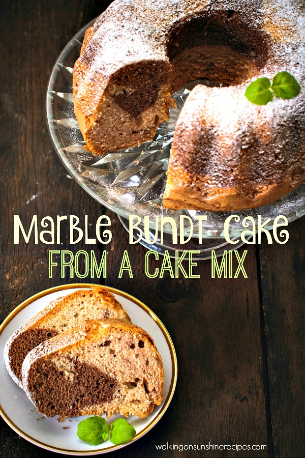 Marble Bundt Cake from a Cake Mix from Walking on Sunshine