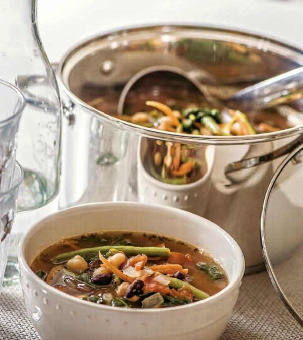 Three Bean Minestrone Soup in large stock pot with bowl of soup.