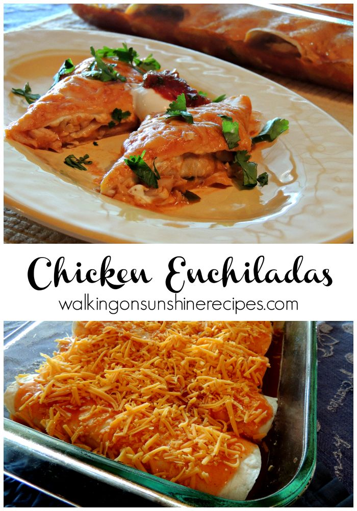 Use shredded chicken to make delicious chicken enchiladas from Walking on Sunshine Recipes.
