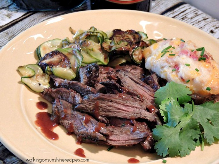 Grilled Steak plated from Walking on Sunshine Recipes