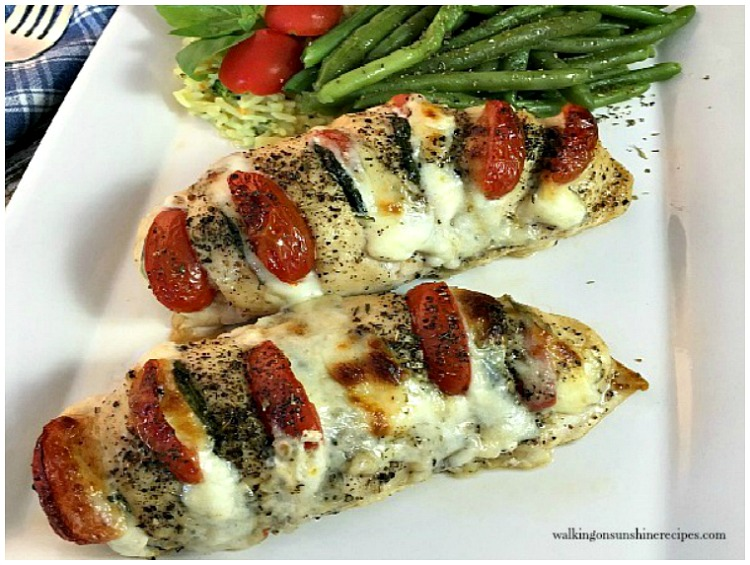 Hasselback Chicken Stuffed with Mozzarella, Tomato and Basil from Walking on Sunshine.