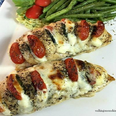 Hasselback Chicken Recipe Stuffed with Mozzarella, Tomato and Basil