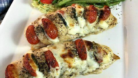 Hasselback Chicken Stuffed with Mozzarella, Tomato and Basil