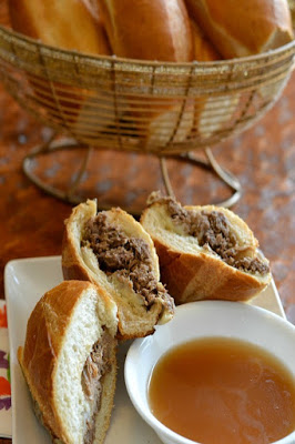 Simple Slow Cooker French Dip Sandwich from Good + Simple featured on Walking on Sunshine Recipes