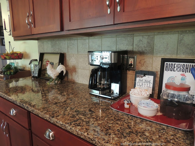 How to Make a Coffee Bar on your Kitchen Counter from Walking on Sunshine Recipes.