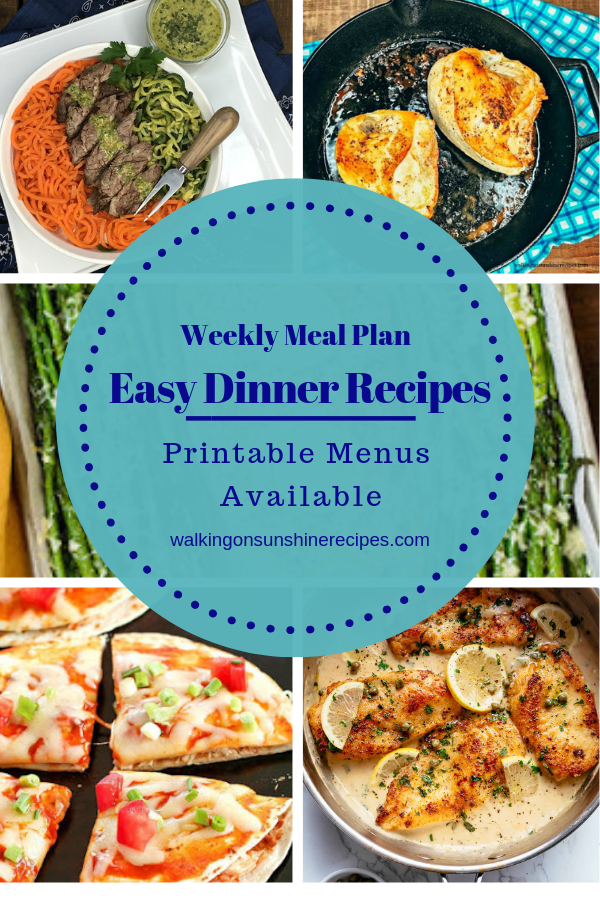 5 Easy Dinner Recipes are featured this week with our Weekly Meal Plan. Free printables to help you get dinner on the table for your family this week!