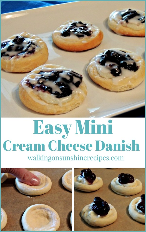 Easy Mini Cream Cheese Danish made using crescent rolls from Walking on Sunshine Recipes.
