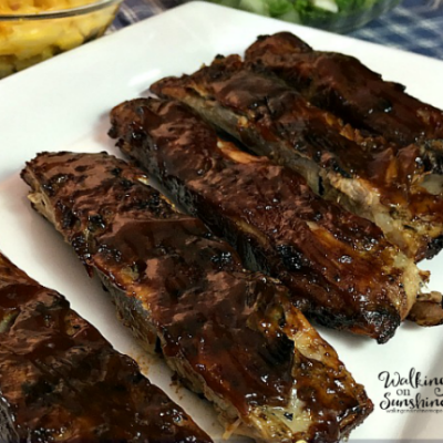 BBQ Ribs from Walking on Sunshine Recipes made in the Crock Pot and Finished on the Grill