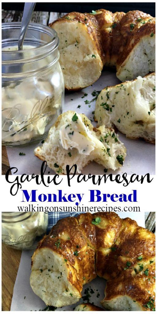 Garlic Parmesan Monkey Bread with garlic butter in mason jar and knife