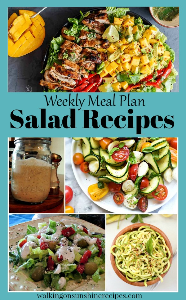 Healthy Salad Recipes - Menu Plan Monday from Walking on Sunshine Recipes