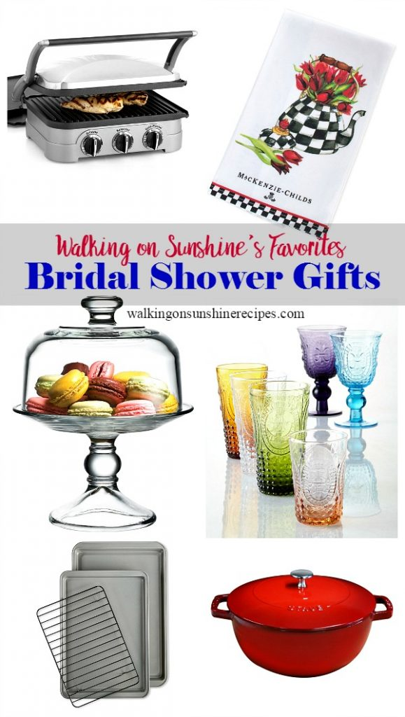 Panini Press, Glass Cake Stand, Dutch Oven are some of the things that any bride-to-be would love for her bridal shower.