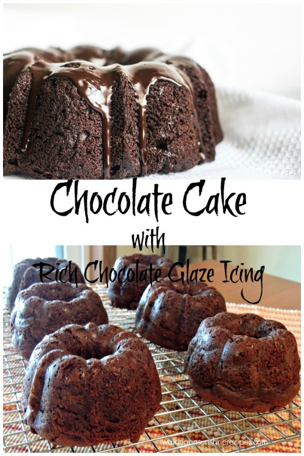 Chocolate Cake with Rich Chocolate Glaze Icing from Walking on Sunshine.