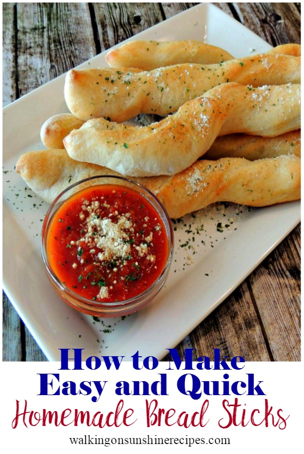 Easy and Quick Homemade Bread Sticks from store-bought pizza dough.
