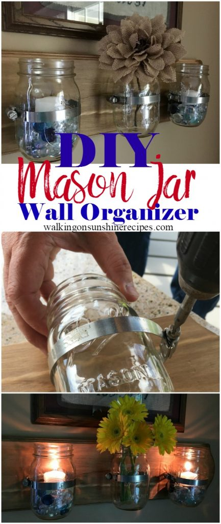 Mason Jar Wall Organizer DIY Project.