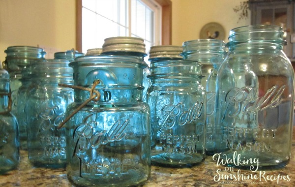 A few of my mason jar collection from Walking on Sunshine Recipes