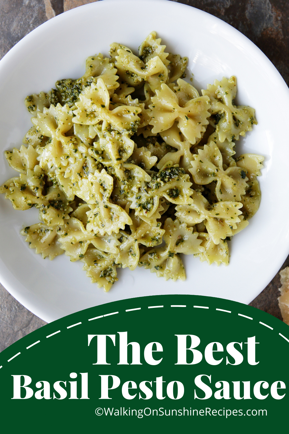 bow tie pasta with fresh homemade basil sauce.