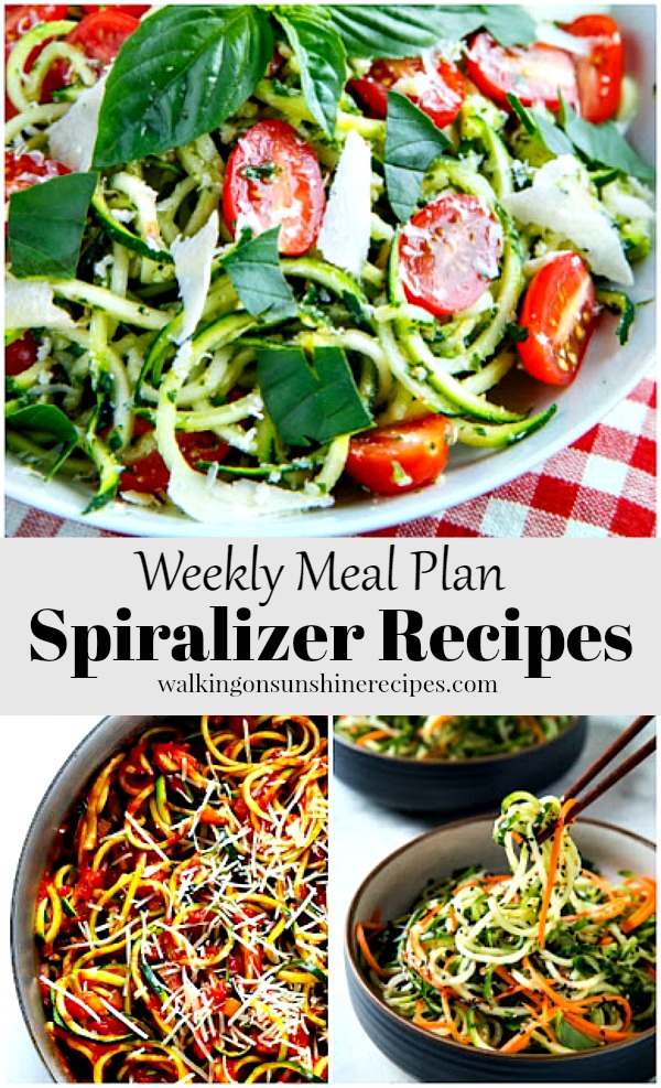 Weekly Meal Plan Spiralizer Recipes featured on Walking on Sunshine Recipes. Printable menu, grocery, freezer and pantry lists available too.