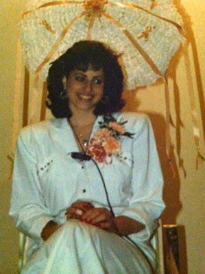 A photo taken of me at my bridal shower 29 years ago.