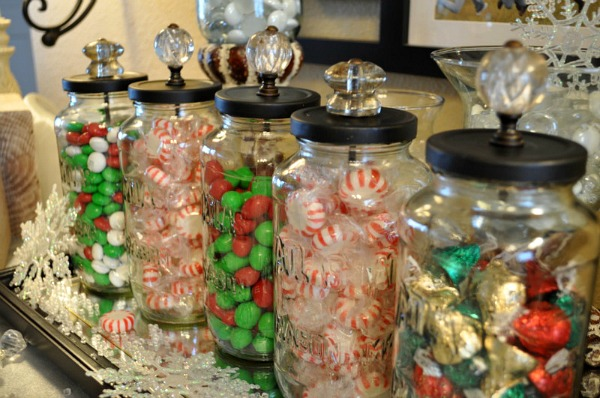 Christmas Jars filled with candy.
