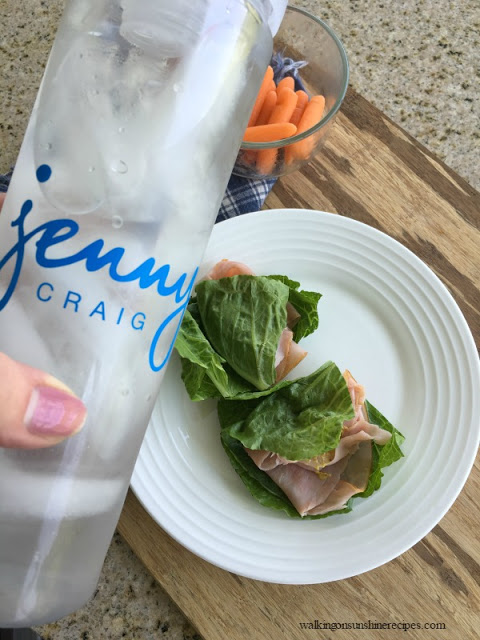A delicious snack for me is lettuce wraps, carrots and water while I'm on the Jenny Craig weight loss plan.