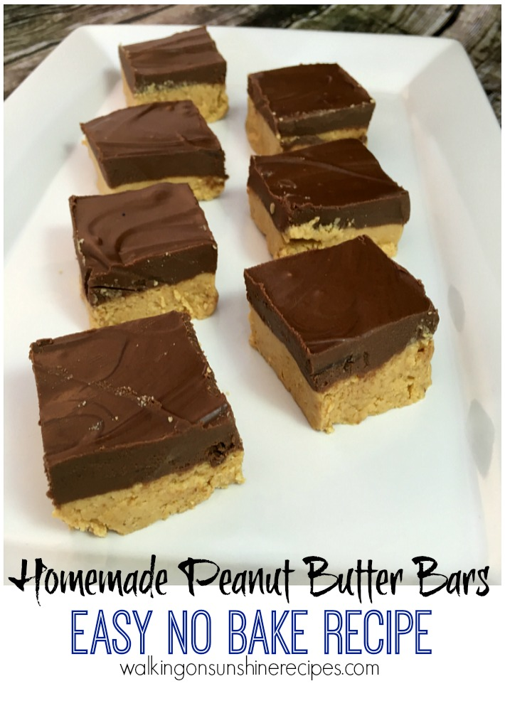 Homemade Peanut Butter Bars from Walking on Sunshine Recipes.