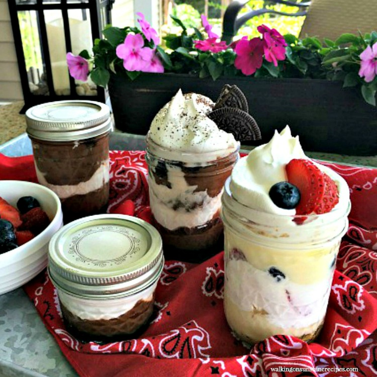 Pudding desserts made in mason jars.