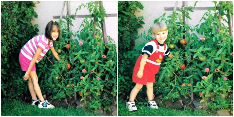 Olivia and Michael in vegetable garden 2001