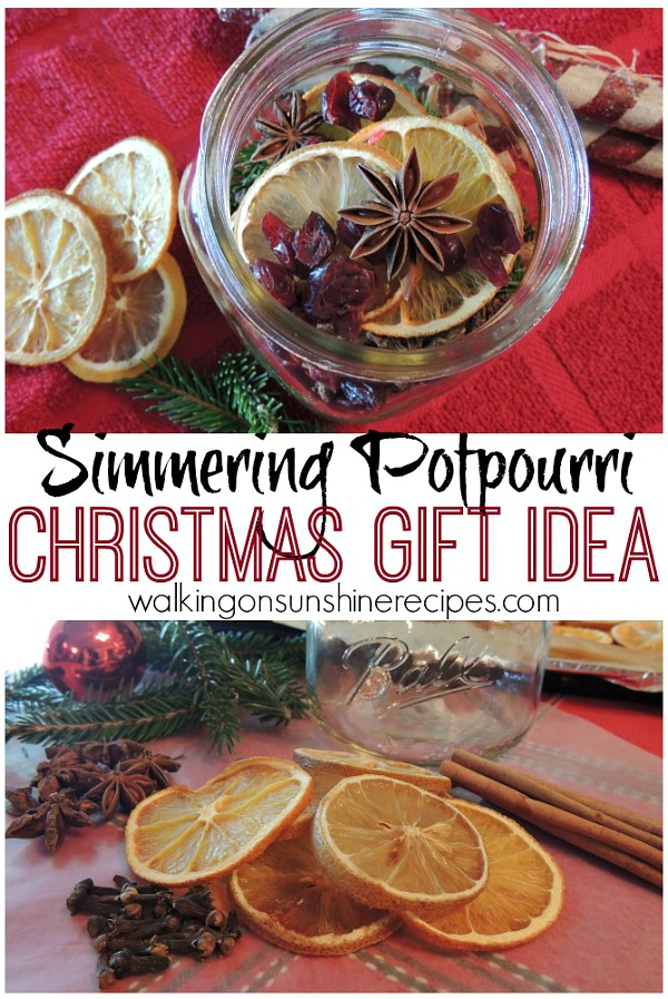 Mason Jar Simmering Potpourri Gifts from Walking on Sunshine Recipes