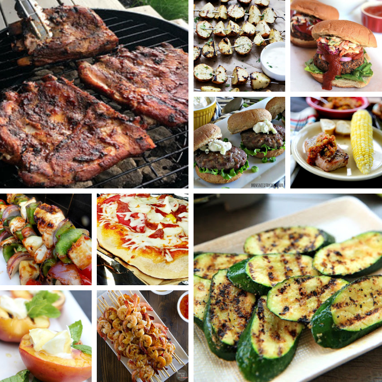 Grilled ribs, veggies, pizza and fruit