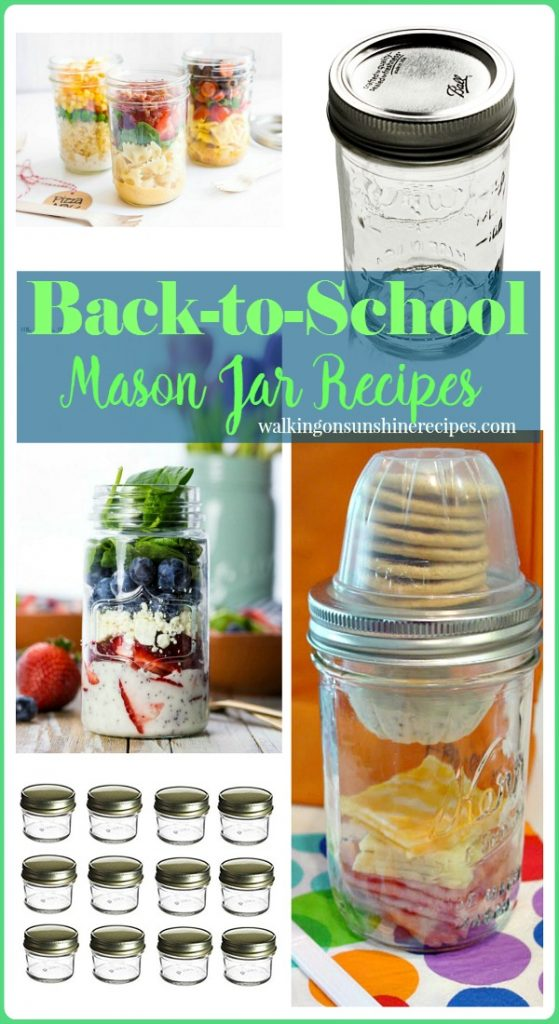 Pre-made back-to-school lunches using mason jars from Walking on Sunshine Recipes.