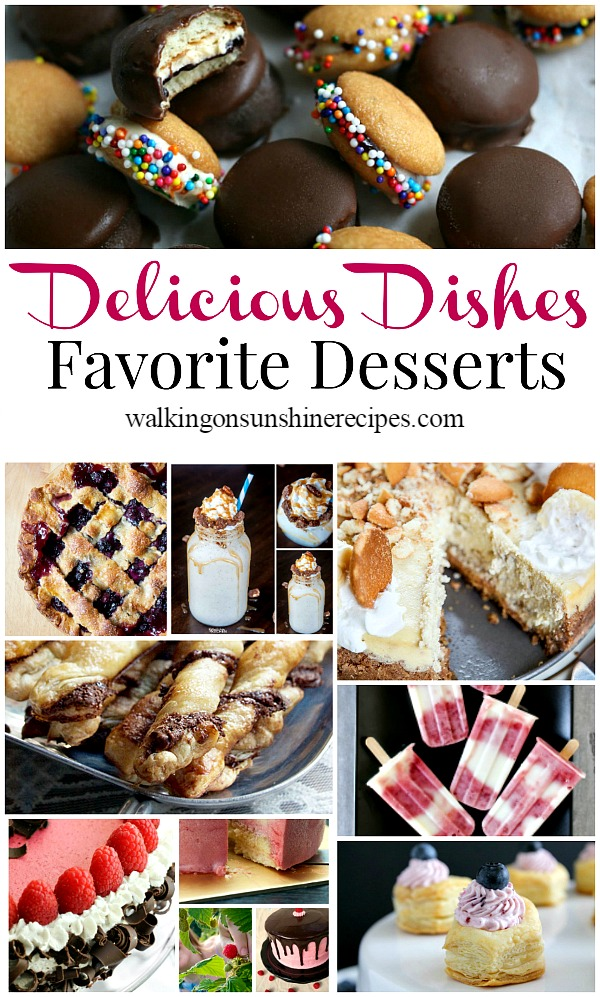 A great collection of favorite dessert recipes from all our hosts and our Delicious Dishes Recipe Party #29 featured on Walking on Sunshine Recipes.