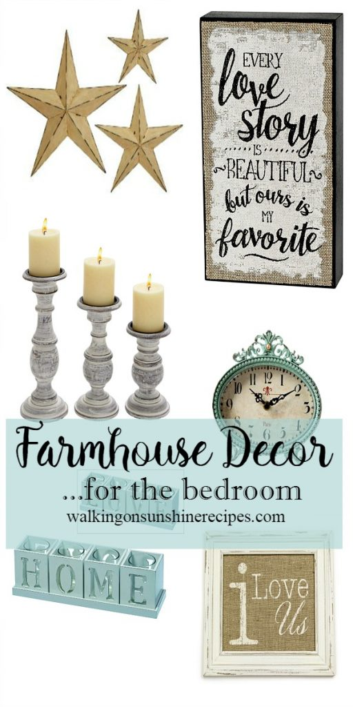 Farmhouse decor for the master bedroom from Walking on Sunshine Recipes.