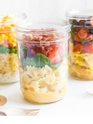 Pasta Salad in a Mason Jar featured on Walking on Sunshine Recipes