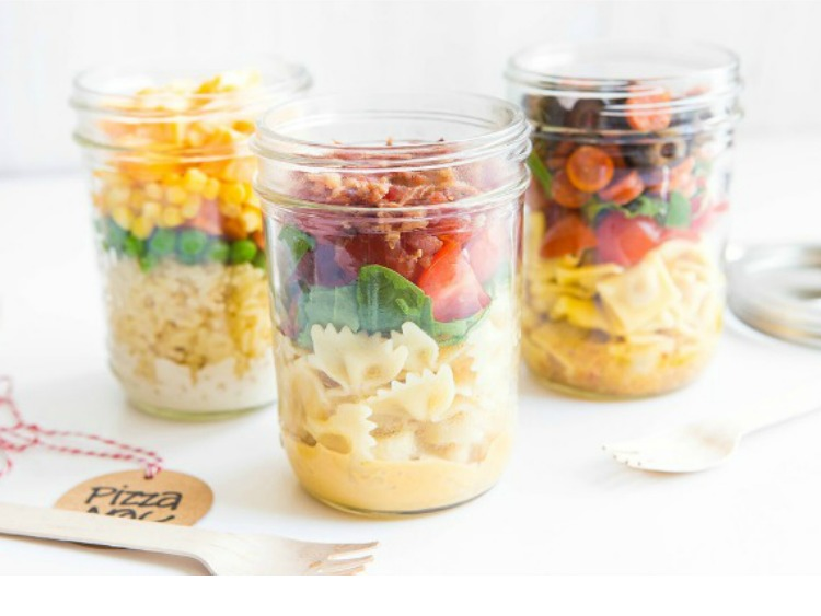 Pasta Salad in a Mason Jar featured on Walking on Sunshine Recipes