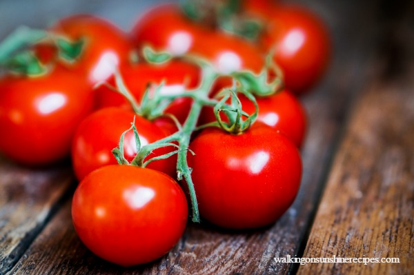 Tomatoes are best during the summer and taste great in salads from Walking on Sunshine Recipes.