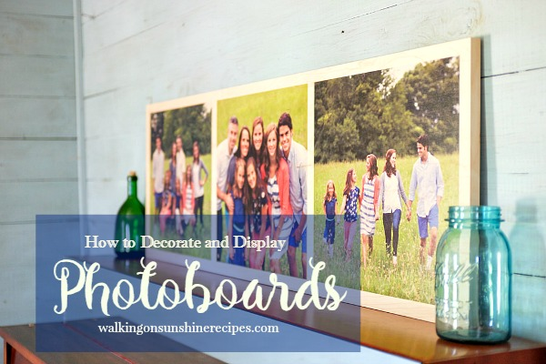 How to decorate and display photoboards in your home from Walking on Sunshine. I love these photoboards!