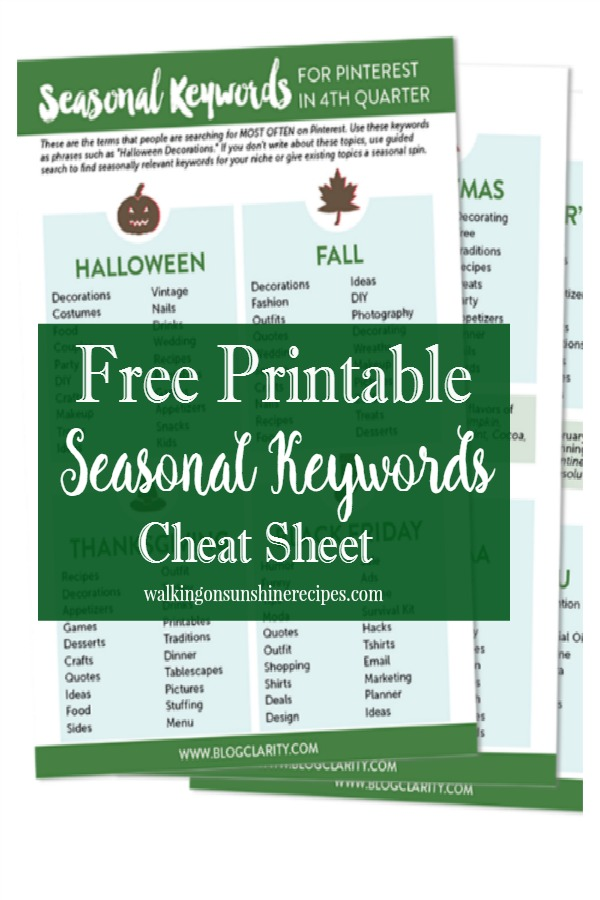 Get your free printable seasonal keywords cheat sheet featured on Walking on Sunshine Recipes.