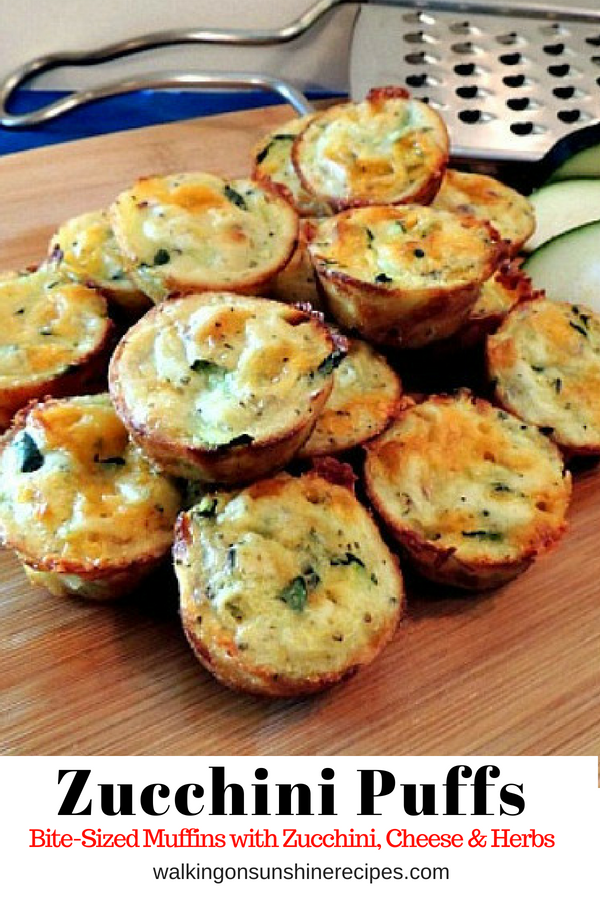Easy to Make Zucchini Puffs filled with Grated Zucchini, Cheese and Herbs from Walking on Sunshine Recipes